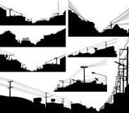 förgrund silhouettes stads- vektor illustrationer