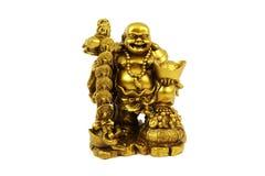 Förgylld statyett av Buddha på vit bakgrund Royaltyfria Foton