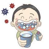 Förhindrande av förkylningar och influensa - gurgelvatten - pojke royaltyfri illustrationer
