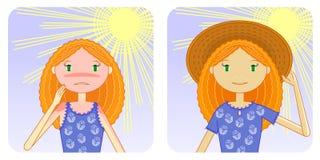 förhindrandesolbränna vektor illustrationer