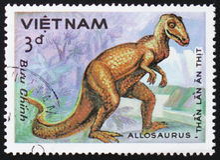 Förhistorisk djur Allosaurus, circa 1984 Royaltyfri Bild