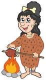 förhistorisk kvinna för tecknad film Fotografering för Bildbyråer