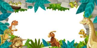 Förhistorisk naturram för tecknad film med dinosaurier Royaltyfri Bild