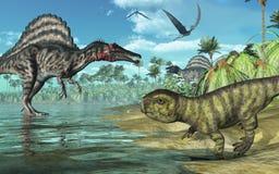 förhistorisk plats för 2 dinosaurs Arkivbild