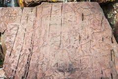 Förhistorisk teckning på stenen arkivbild