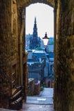 Förkämpar stänger sig, Edinburg, Skottland, BW versionslutet, Edinburg Arkivbild
