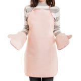 Förkläde och ugn mi för matlagning för mat för funktionsduglig hemmafru för kök bärande Arkivbild