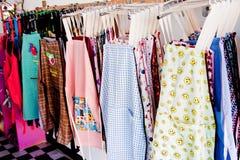 Förkläden i kläderlinje Royaltyfria Foton