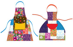 Förkläden med patchworkdesign Royaltyfri Bild