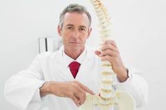 Förklarande rygg för säker manlig doktor i regeringsställning royaltyfri fotografi