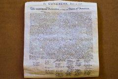 Förklaring av det självständighet4th juli 1776 slutet upp Royaltyfria Foton