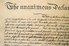 Förklaring av det självständighet4th juli 1776 slutet upp Arkivbilder