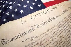 Förklaringen av självständighet 4th juli 1776 på USA sjunker Arkivbilder