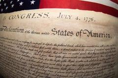 Förklaringen av självständighet 4th juli 1776 på USA sjunker Royaltyfri Bild