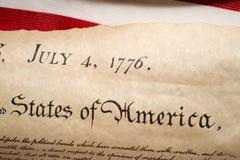 Förklaringen av självständighet 4th juli 1776 på USA sjunker Royaltyfria Bilder
