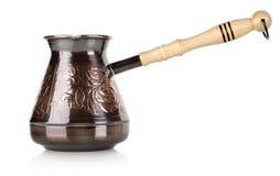 Förkoppra kaffekrukan Arkivfoton