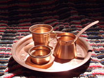 Förkoppra kaffekrukan Arkivfoto