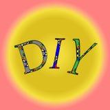 Förkortning DIY på en gul bakgrund Royaltyfria Bilder