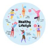 Förkroppsliga den sunda livsstilen för positiva överviktiga flickor royaltyfri illustrationer