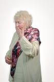 Förkylningåldringkvinna royaltyfri bild