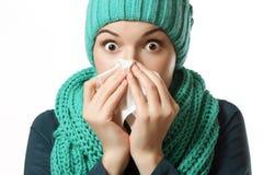 Förkylning sjuk flicka Arkivbild