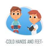 Förkylninghänder och fot läkarundersökningbegrepp också vektor för coreldrawillustration Royaltyfri Fotografi
