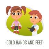 Förkylninghänder och fot läkarundersökningbegrepp också vektor för coreldrawillustration Royaltyfria Bilder