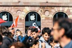 Förlägga den politiska marschen för kleber under en fransk rikstäckande dagagai Arkivfoto