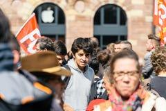 Förlägga den politiska marschen för kleber under en fransk rikstäckande dagagai Arkivfoton