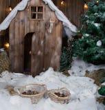 Förlägga det felika huset i vintern i snön royaltyfria bilder