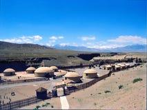 förlägga i barack mongolian Arkivbilder