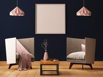 Förlöjliga upp affischen i inre av en vardagsrum med fåtöljer och lampor 3d illustrationen 3d framför stock illustrationer