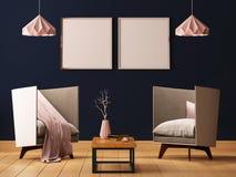 Förlöjliga upp affischen i inre av en vardagsrum med fåtöljer och lampor 3d illustrationen 3d framför royaltyfri illustrationer