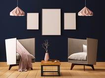 Förlöjliga upp affischen i inre av en vardagsrum med fåtöljer och lampor 3d illustrationen 3d framför vektor illustrationer
