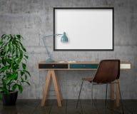 Förlöjliga upp affischen, skrivbordet och stol, illustrationen 3d Royaltyfri Foto