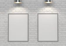Förlöjliga upp affischer på den vita tegelstenväggen med lampan illustration 3d royaltyfri illustrationer