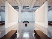 Förlöjliga upp av tom galleriinre med brunt fyra arkivfoton