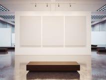 Förlöjliga upp av tom galleriinre med den bruna bänken royaltyfri foto