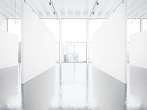 Förlöjliga upp av tom vit galleriinre med arkivbild