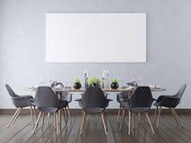 Förlöjliga upp den tomma affischen på en vägg i en modern matsal Vektor Illustrationer