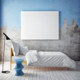Förlöjliga upp den tomma affischen på väggen av sovrummet, stock illustrationer