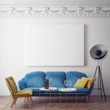Förlöjliga upp den tomma affischen på väggen av sovrummet, bakgrund för illustration 3D, vektor illustrationer
