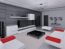 Förlöjliga upp en högteknologisk vardagsrum med en modern inre stock illustrationer