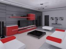 Förlöjliga upp en högteknologisk vardagsrum med modernt funktionellt möblemang royaltyfri illustrationer