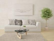 Förlöjliga upp en ljus vardagsrum med en bekväm kompakt soffa Royaltyfri Fotografi