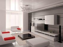 Förlöjliga upp en modern vardagsrum med en trendig inre royaltyfri illustrationer
