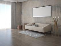 Förlöjliga upp en stilfull vardagsrum med en moderiktig ljus soffa royaltyfri illustrationer