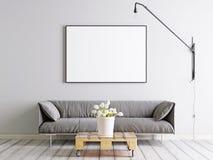 Förlöjliga upp ramaffischen i scandinavian stillivingroom med den tygsoffan, lampan och växten i hink på vit väggbakgrund royaltyfri illustrationer