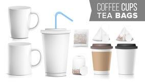 Förlöjligar pappers- koppar för den för avhämtning olika ockran, tepåsar upp vektor Plast- och keramiskt Stor liten kaffekopp Col vektor illustrationer