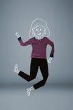 Förlagd kläder i handling med kvinnateckningen Arkivfoto